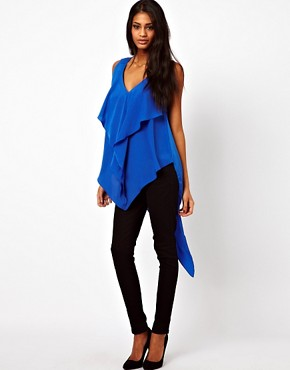 Image 1 ofASOS Top With Drape And Asymmetric Ruffles