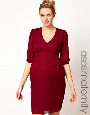 Image 1 ofASOS Maternity Tulip Dress With Ruching