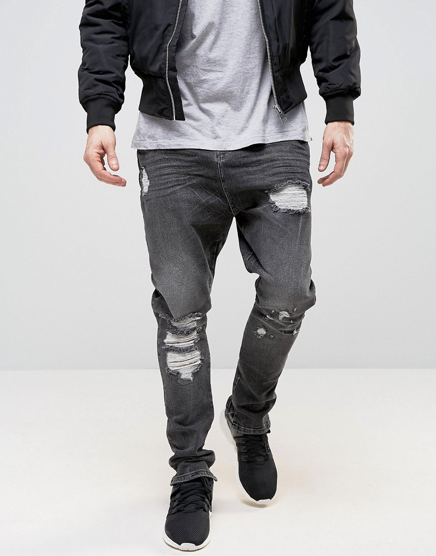 ASOS Drop Crotch Stacker Jeans With Rips In Washed Black - Washed black