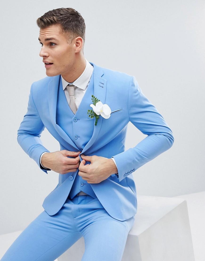 Голуобой облегающий пиджак ASOS DESIGN - Синий
