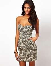 Elise Ryan Printed Bandeau Tulip Dress