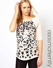 ASOS Maternity Exclusive Raglan T-Shirt With Stars