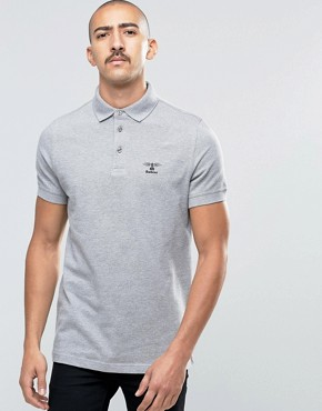 Barbour Polo Shirt With Beacon Logo In Grey
