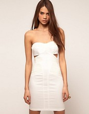 ASOS Bandeau Dress with Cut outs and Ruched Mesh