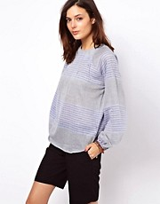 ASOS Top With Mixed Stripe And Balloon Sleeve
