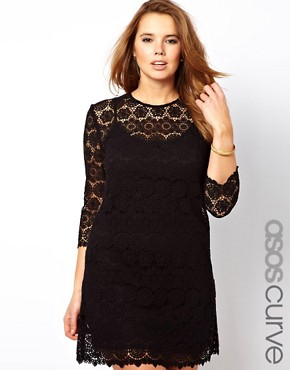Image 1 ofASOS CURVE Shift Dress In Crochet Lace