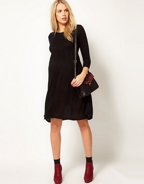 Image 4 ofASOS Maternity Knitted Midi Dress With Keyhole Back