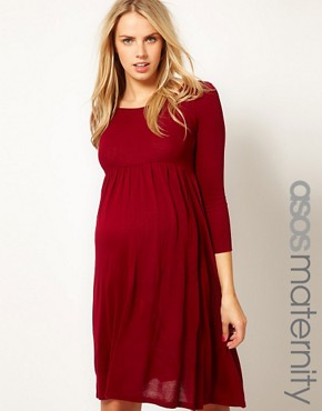 Image 1 ofASOS Maternity Knitted Midi Dress With Keyhole Back