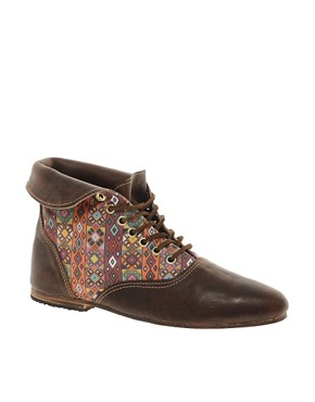 Image 1 ofOsborn Flat Foldover Choc Lace Ankle Boots