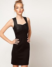 A Wear Leather Look Bodycon Dress