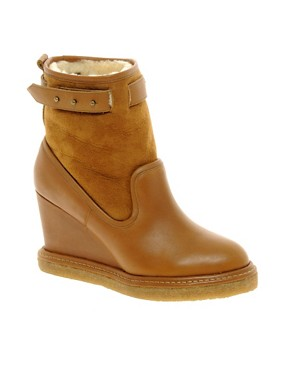 Image 1 ofF-Troupe Wedge Sheepskin Ankle Boots