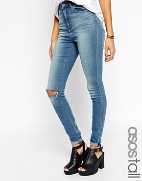 ASOS TALL Ridley High Waist Skinny Jeans In Wyona Wash With Ripped Knee