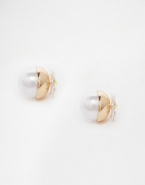 River Island Daisy And Pearl Ball Throu & Throu Stud Earrings