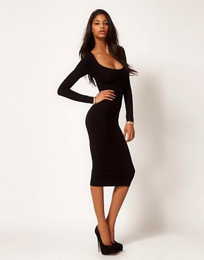 Image 1 of ASOS Midi Body-C&#111;nscious Dress with L&#111;ng Sleeves