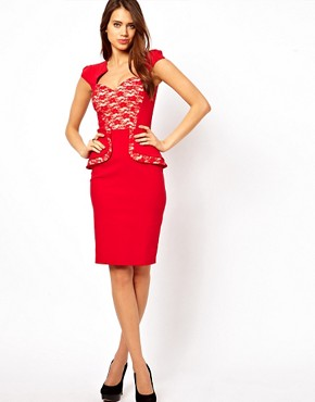Image 4 ofHybrid Peplum Dress With Lace Insert and Sweetheart Neckline