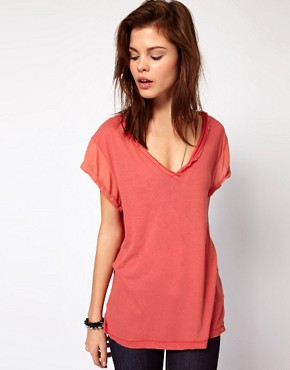 Image 1 ofDiesel V Neck T-Shirt With Frayed Edge