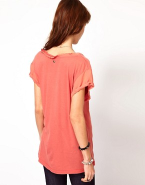 Image 2 ofDiesel V Neck T-Shirt With Frayed Edge