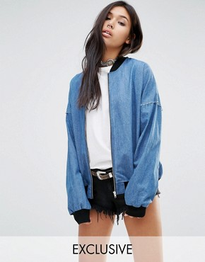 Milk It Vintage Relaxed Oversized Denim Bomber Jacket