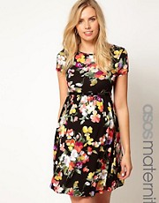 ASOS Maternity Skater Dress In Floral Print With Belt