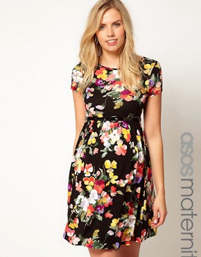 Image 1 ofASOS Maternity Skater Dress In Floral Print With Belt