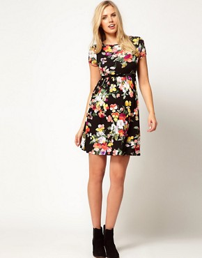 Image 4 ofASOS Maternity Skater Dress In Floral Print With Belt