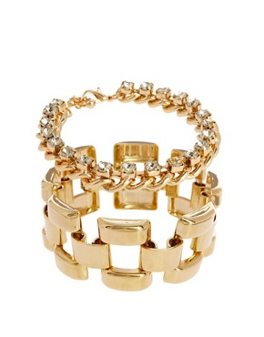 Image 1 ofASOS Linked Stone Bracelet Pack