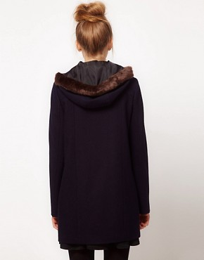 Image 2 ofASOS Fur Trim Duffle Coat