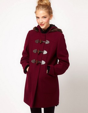 Image 1 ofASOS Fur Trim Duffle Coat