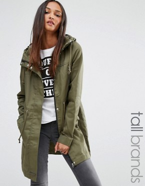Noisy May Tall Padded Parka Coat With Contrast Lining Online Cheap