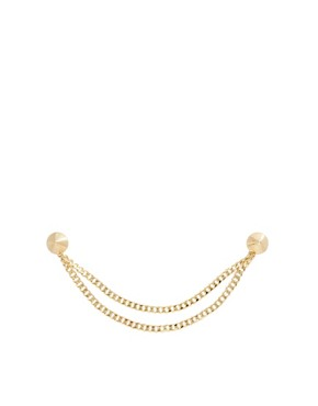 Image 2 ofASOS Gold Stud Collar Brooch With Chain