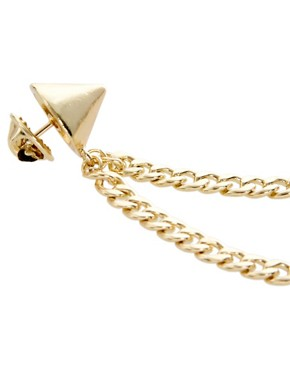 Image 3 ofASOS Gold Stud Collar Brooch With Chain