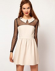 Darling Spot Mesh Contrast Skater Dress