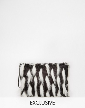 Story of Lola Faux Fux Clutch in Black with White Contrast