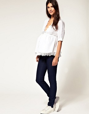 Image 4 ofASOS Maternity Exclusive Cotton Tunic with Lace