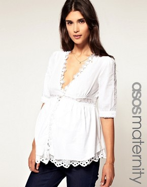 Image 1 ofASOS Maternity Exclusive Cotton Tunic with Lace