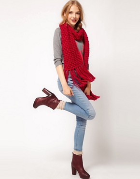 Image 3 ofASOS Textured Knit Tassel Scarf
