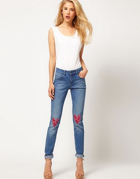 Image 4 ofASOS Skinny Jeans with Heart Knee Print #4
