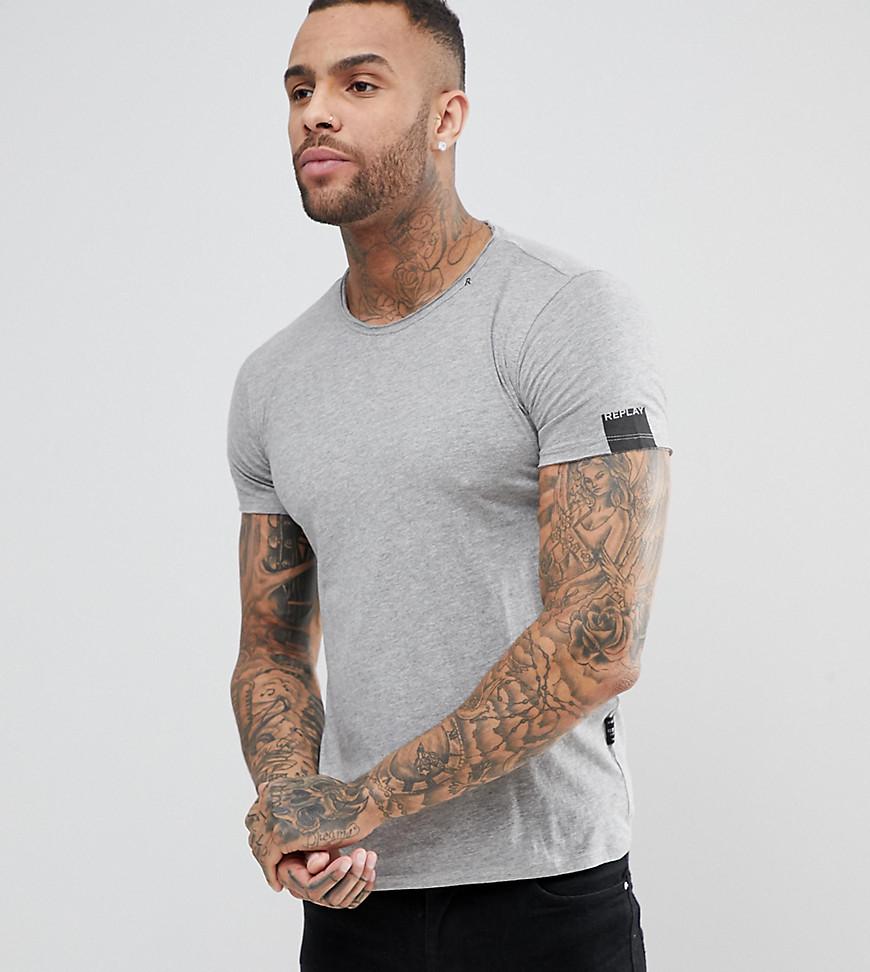 Replay Loose Neck T-Shirt Grey Grey melange