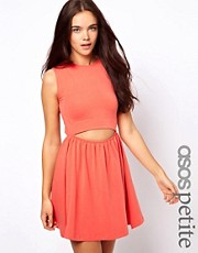 ASOS PETITE Exclusive Cut Out Middle Skater Dress