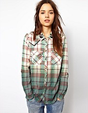 River Island Check &amp; Dip Western Shirt