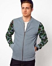 ASOS Bomber With Camo Print Sleeves