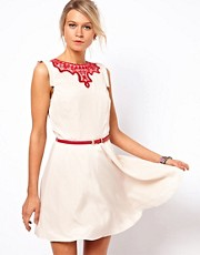 Oasis Embroidered Neck Skater Dress