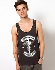 ASOS Tank With Motley Crue Print And Studs