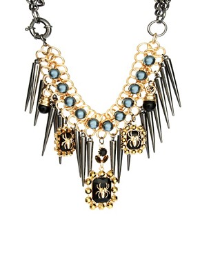Image 1 ofASOS Premium Spider Jewel &amp; Spike Necklace