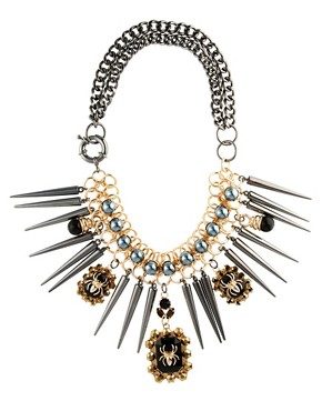 Image 2 ofASOS Premium Spider Jewel &amp; Spike Necklace