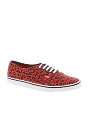 Vans Lo Pro Red Leopard Lace Up Trainers