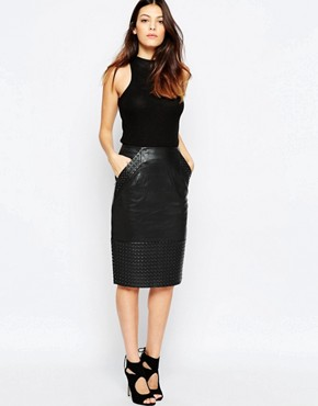 French Connection Chaos Leather Pencil Skirt