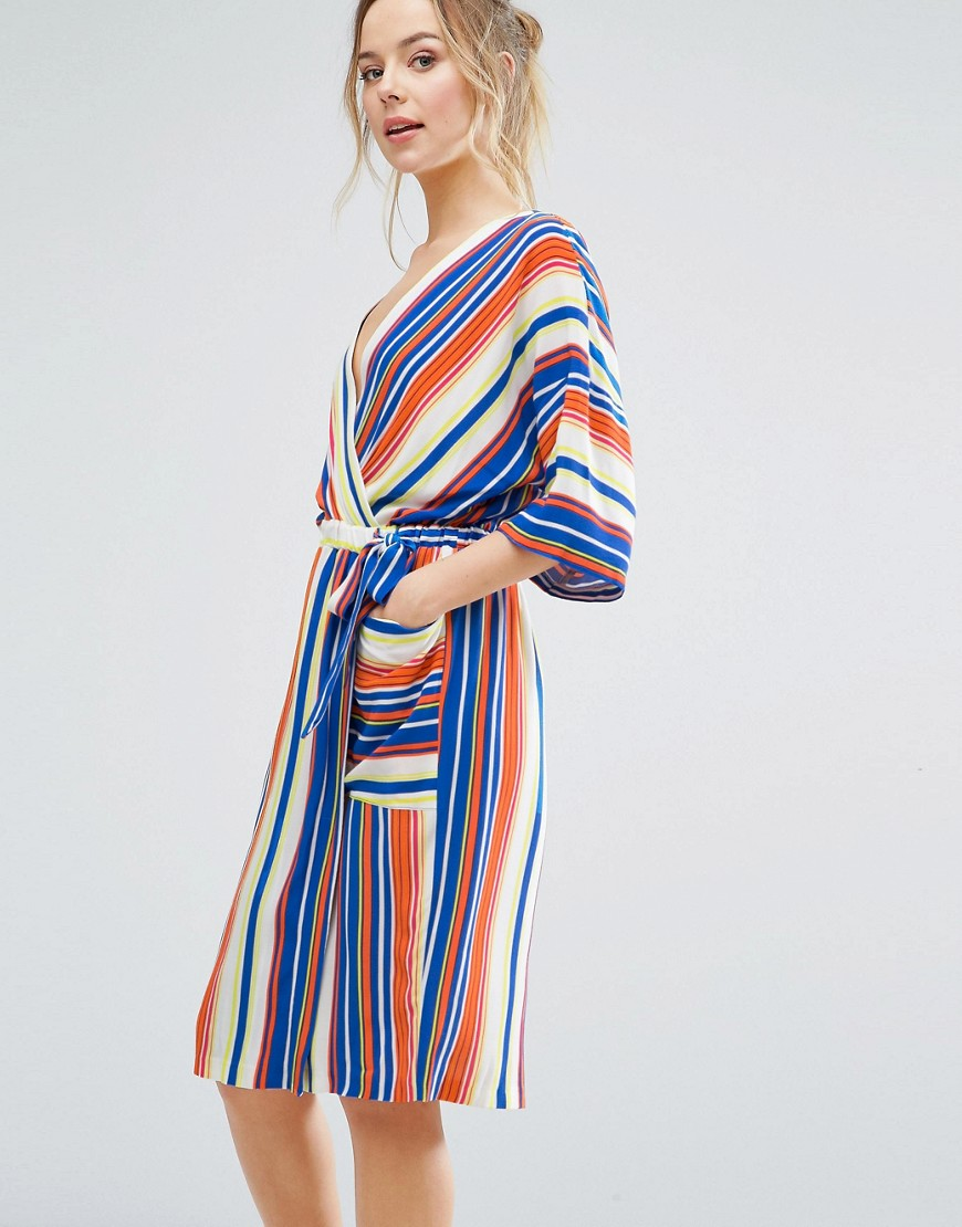 Closet London Kimono Sleeve Striped Wrap Dress