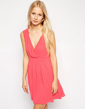 Pussycat London Wrap Front Skater Dress