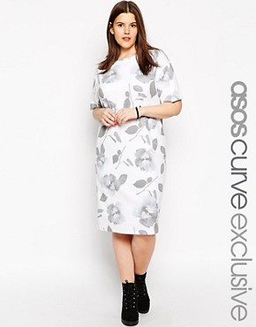 ASOS CURVE Midi Dress In Floral Rib